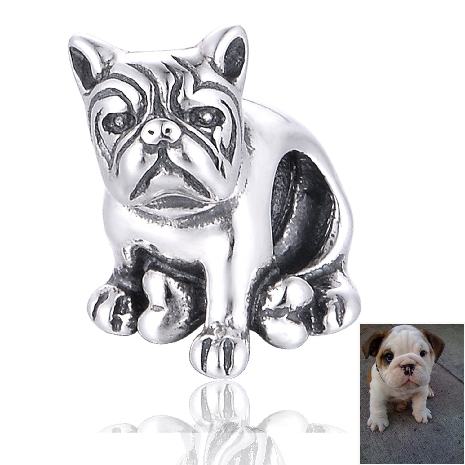 Globalwin Sterling Silver 925 French Bulldog Charms Heart Puppy Dog Fit Snake Chain Bracelet & Bangle