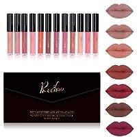 Rechoo 12 Couleurs Rouge à Lèvres Liquide Mattte Longue Durée Waterproof Brillant Maquillage à Lèvres Lot de (12Pcs New)