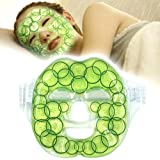 """Cold Facial Mask with Cooling Ice Gel for Face, Great Hot Freezer Therapy Patch for Anti-Fatigue, Insomnia with Strap, Refresh Facial Skin, 8.3"""" x 28.3"""","""