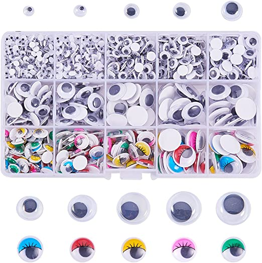 700PCS Mixed Wiggle Googly Eyes DIY Plastic Self Adhesive Toy Eyes Accessories with Storage Box by OEEKOI
