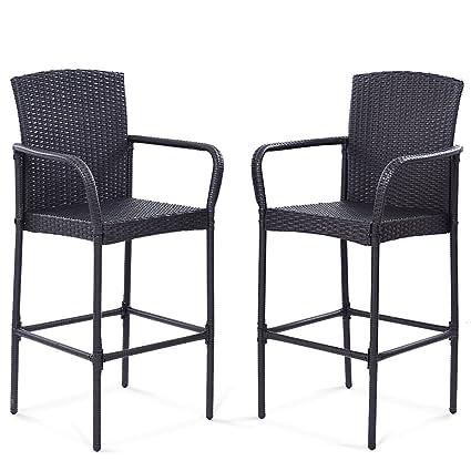 TANGKULA 2 PCS Patio Wicker Rattan Bar Chairs Outdoor Garden Wicker Rattan  Stool Dining High Counter