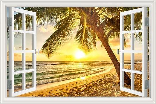 WINDOW 3D Wall Sunset Sticker Decal Art Graphic Mural Window View Beach Vinyl