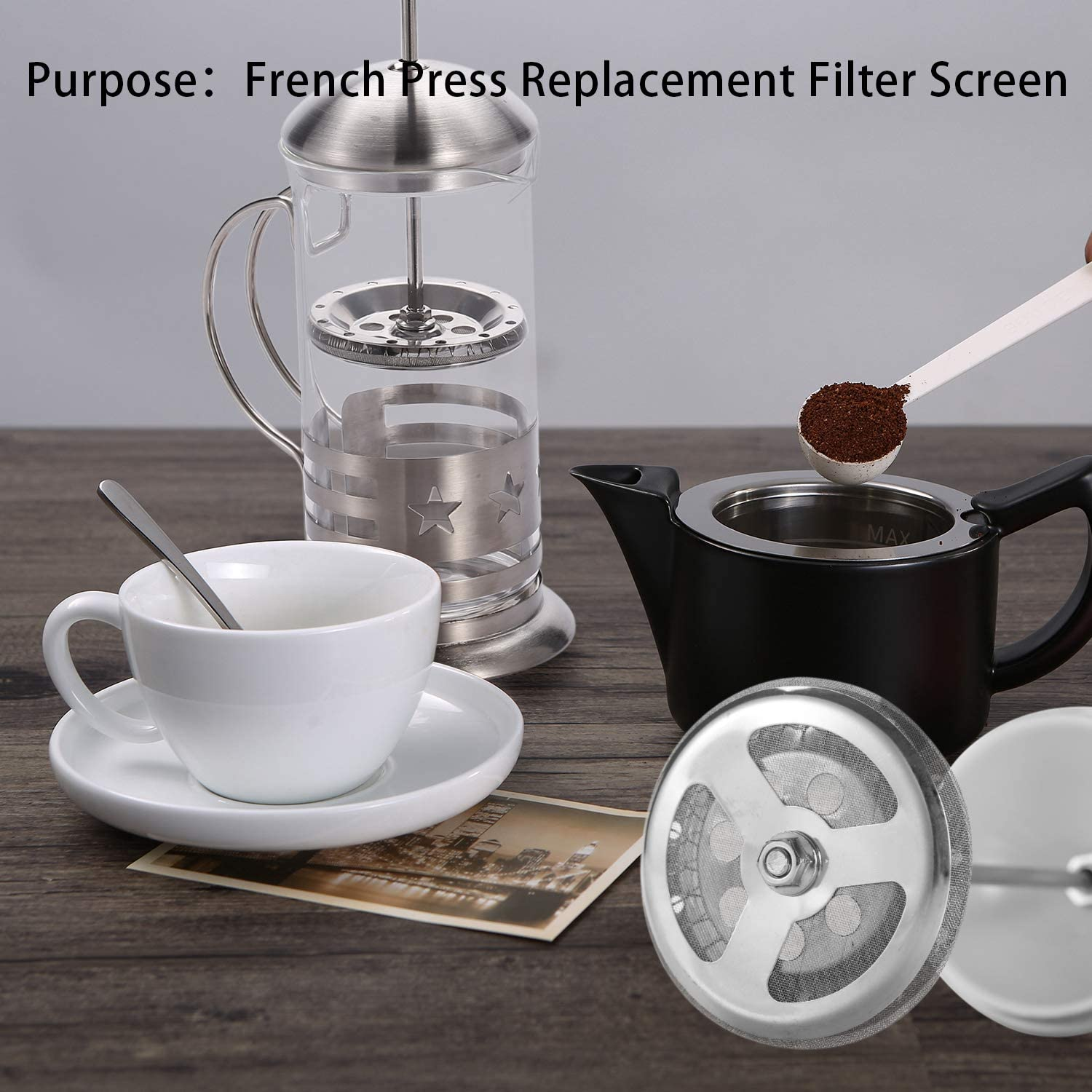 Reusable Stainless Steel Coffee Machine Mesh Filter Universal 1000 ml//34 oz//8 Cup 8 Pack French Press Replacement Filter Screen