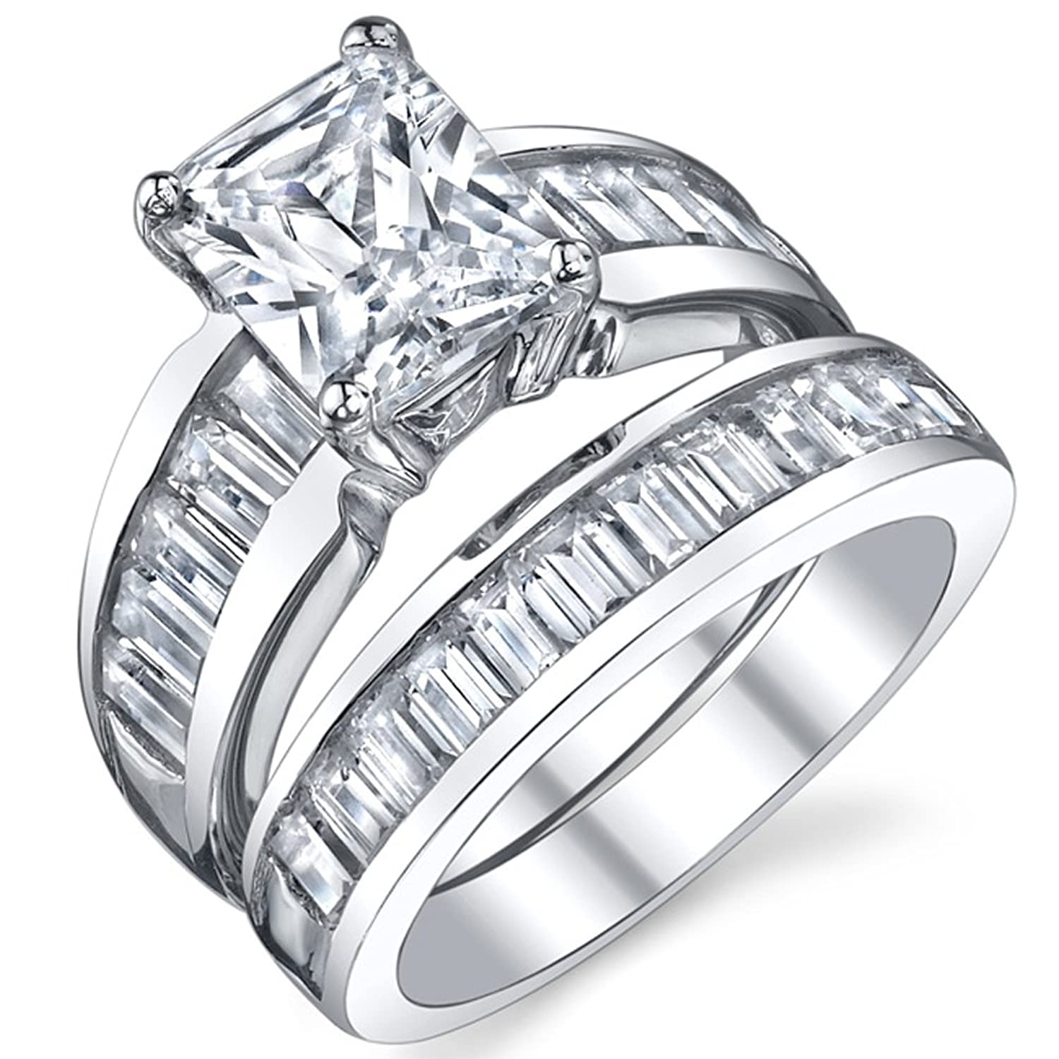 Sterling Silver 3 Carat Radiant Cut Cubic Engagement Ring Wedding