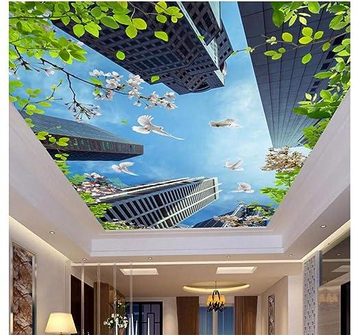 Ytdzsw Murales De Techo 3D Papel De Pared Edificios Altos Paloma ...