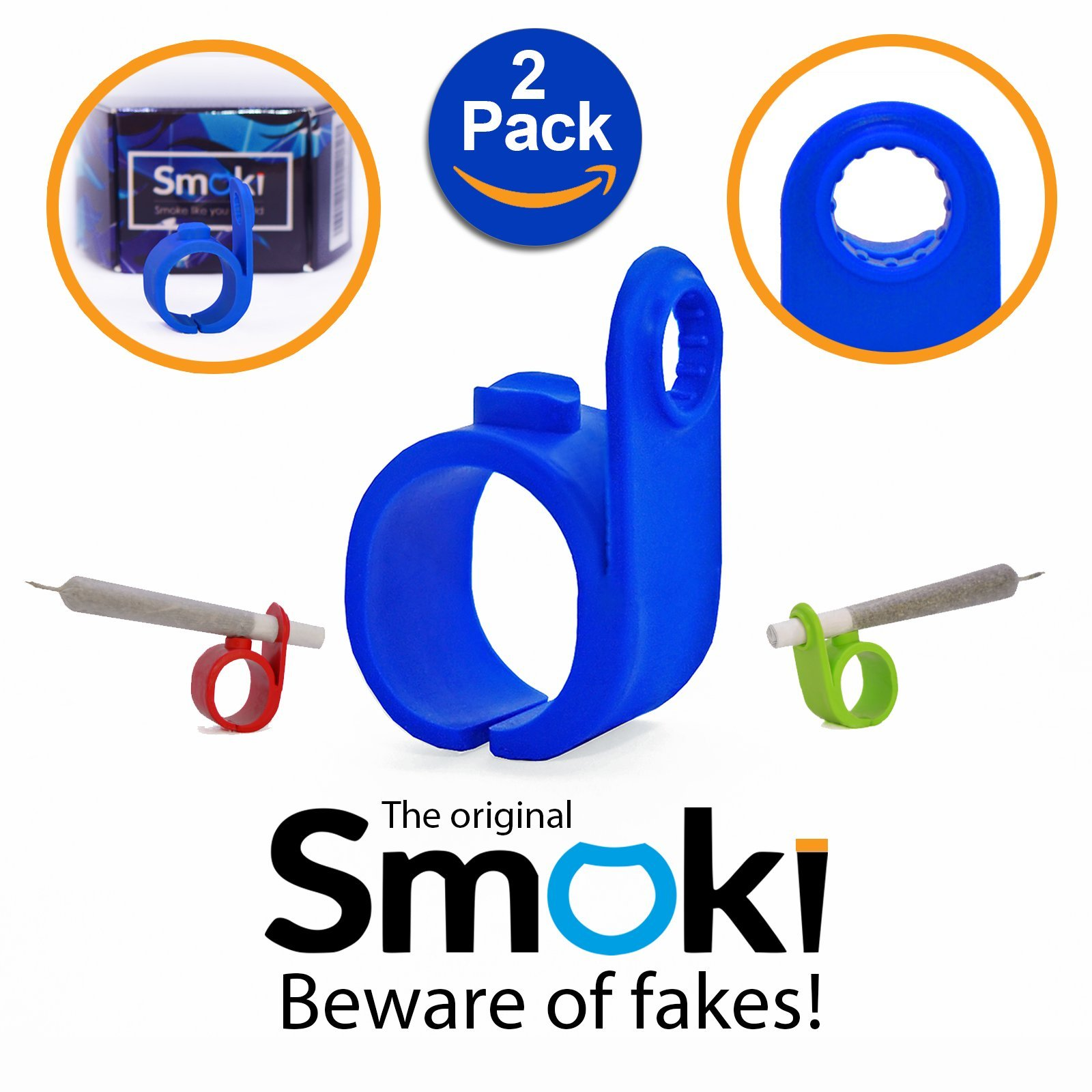 Smoki Roll Holder Ring 2 Pack | Flexible & Comfy Silicone, Ergonomic Design, Heat & Shock Proof Hands Free Rings | Protect Your Hands, Prevent Yellow Stains, Minimize Smell & Enjoy (Red&Blue)