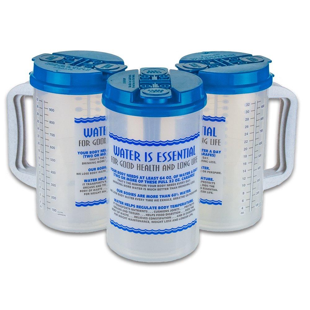 32オンス水Essentials Insulated Cold Drink病院マグ 32 Oz TM-32P Water Essentials B00L5O4O1G Light Blue Lid|3 Light Blue Lid