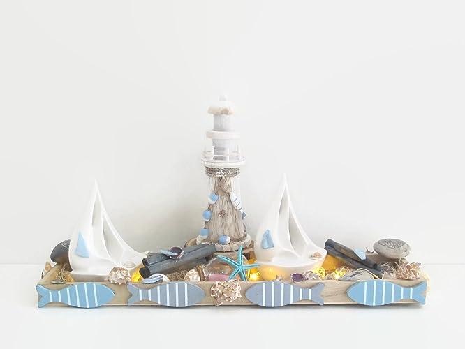 Holzschale Leuchtturm Weidenkranz Muschelkranz Maritime Deko Für