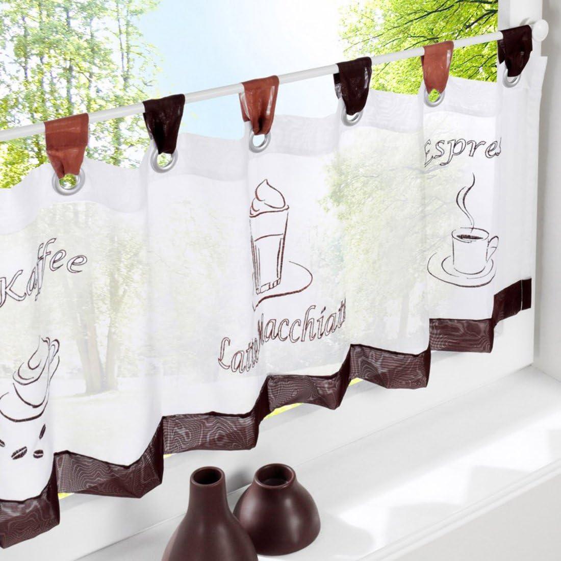 Hoomall D/écoration de Fen/être Voilage Demi Rideau Brise Bise pr Chambre Caf/é Cuisine Polyester Motif Caf/é Couleur Chocolat 60cmx120cm 1 Pc