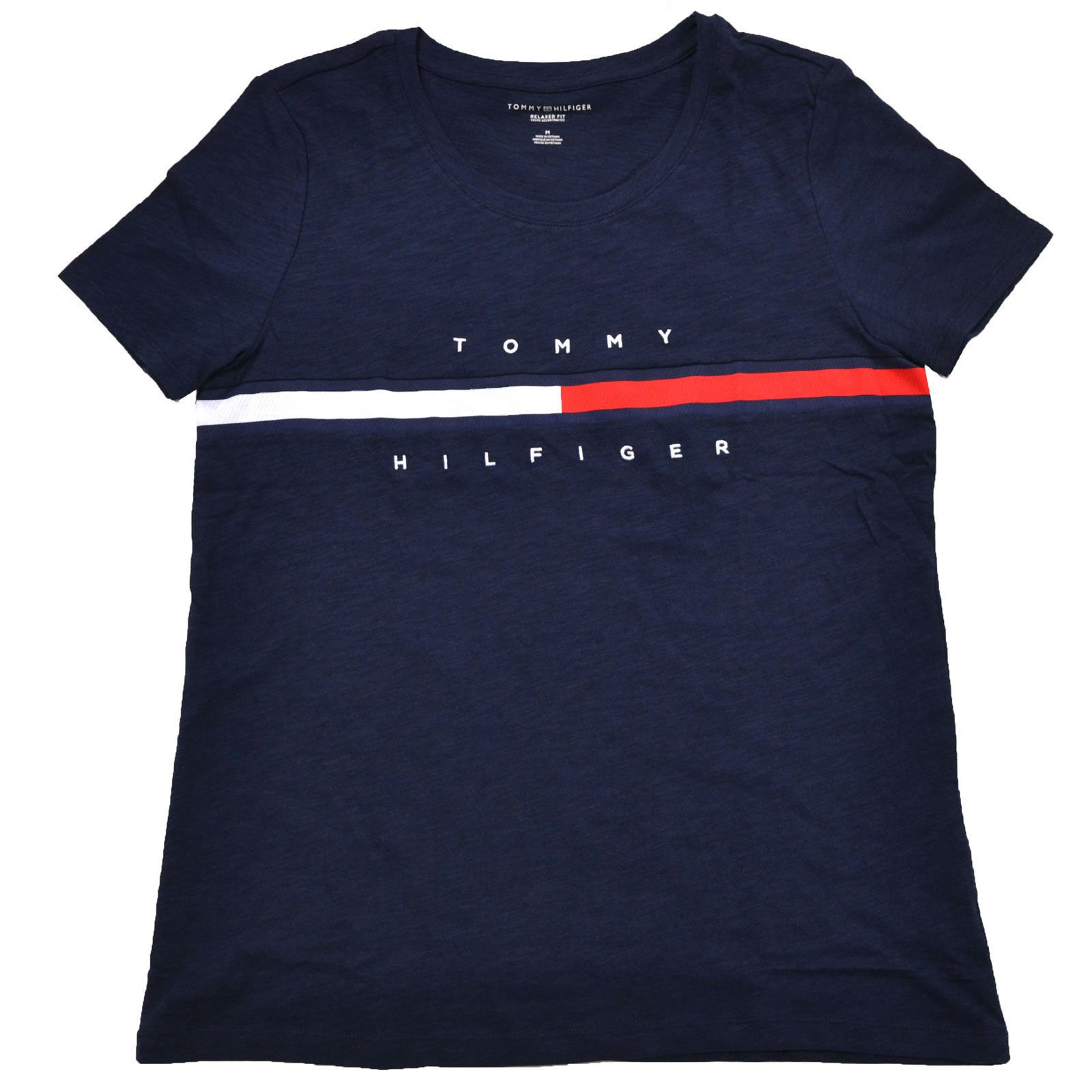 69bfd2bbed Galleon - Tommy Hilfiger Women s Big Logo Line T-Shirt (L