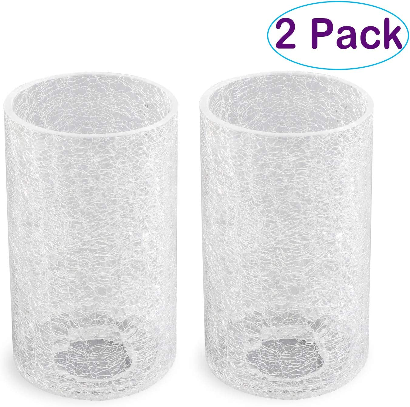 Eumyviv 2 Pack Clear Glass Lamp Shade with Crack Finish, Fixture Replacement Glass Globe or Lampshade with 1-5/8-Inch Fitter Opening A00014