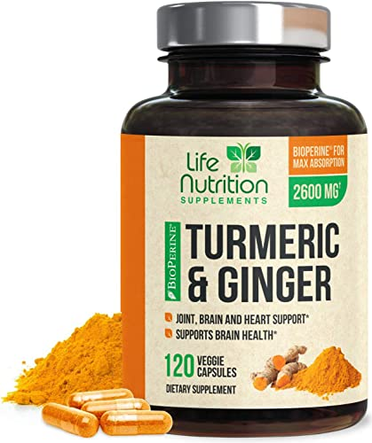 Turmeric Curcumin 95 Standardized with BioPerine and Ginger 2600mg – Black Pepper for High Absorption, Made in USA, Vegan Joint Support, Turmeric Ginger Pills – 120 Capsules