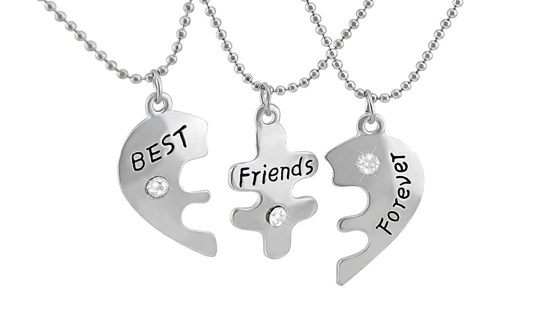 Veuer fille Cha/îne de Bijoux dAmiti/é 3/cha/înes Best Friends Forever coeur puzzle /à No/ël pour la meilleure Petite amie//Amies cadeau danniversaire