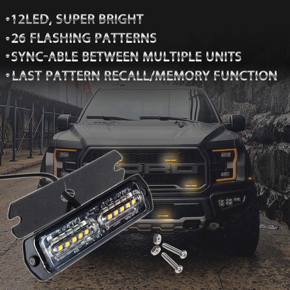 Amber//White ASPL 4pcs Sync Feature 12-LED Surface Mount Flashing Strobe Lights for Truck Car Vehicle LED Mini Grille Light Head Emergency Beacon Hazard Warning lights