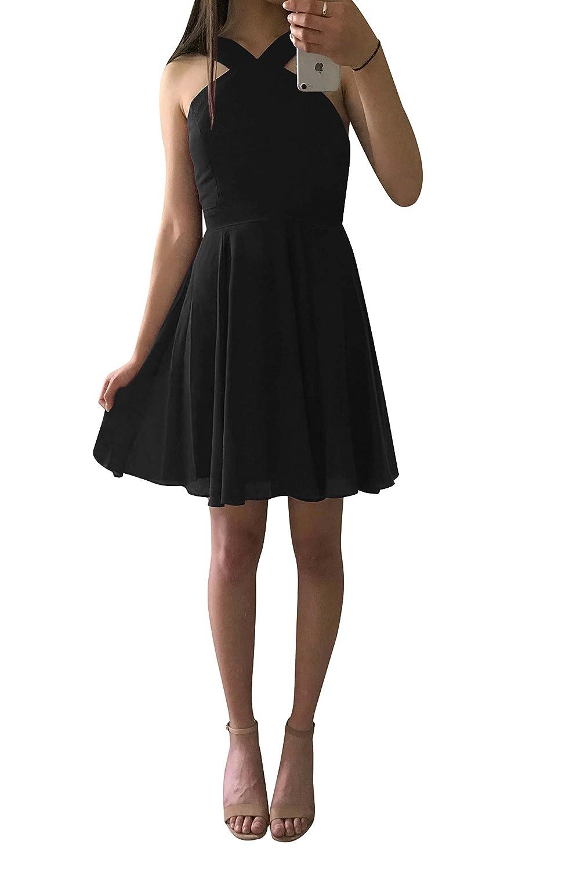 Harsuccting Halter Backless Short Chiffon Homecoming Bridesmaid Dress at Amazon Womens Clothing store: