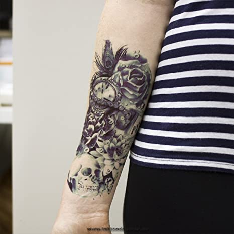 Tatuaje Para El Brazo Negro Y Azul Oscuro Tatuaje Adhesivo Temporal