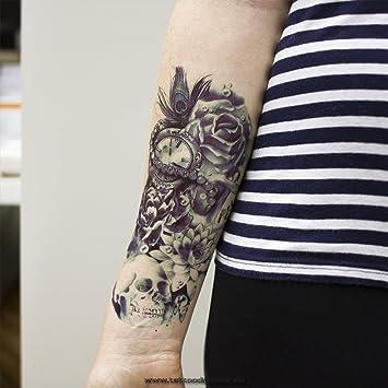 1 X Arm Tattoo Schwarz Bis Dunkel Blau Temporäres Tattoo Zum Kleben