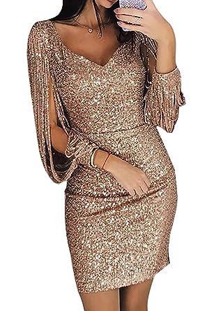 Verkaufsförderung attraktive Farbe günstigster Preis Ybenlover Damen Abendkleider Kurz Glitzer Sexy V-Ausschnitt ...