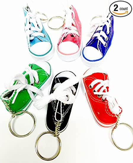 12 Pack Canvas Mini Sneaker Shoe Keychain Keyring Favorict