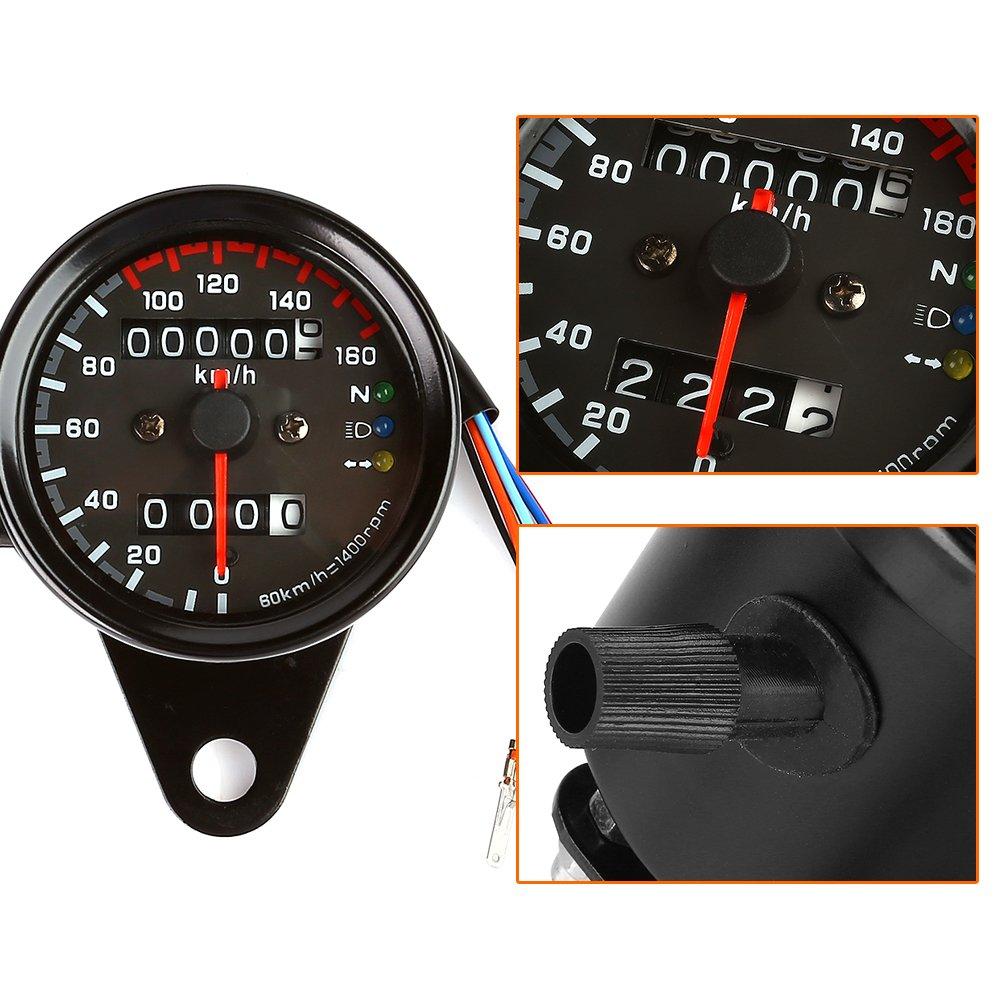 LTC ® Universal 12V Motorrad 13000RMP Drehzahlmesser Tachometer Km ...