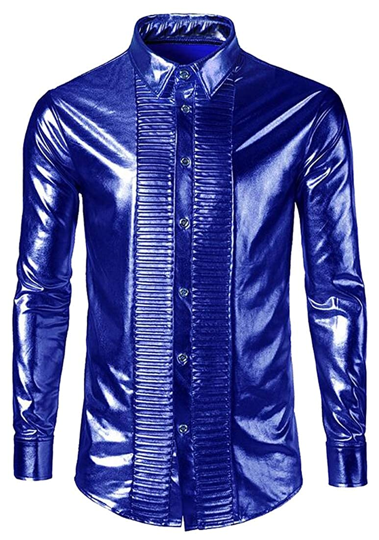 BOBOYU Mens Button Down Party Club Long Sleeve Stylish Ruched Fall /& Winter Shirt
