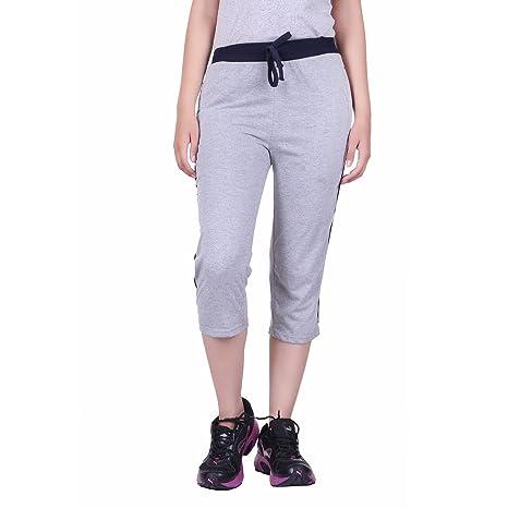 DFH Women's Cotton Capris Grey Women's Sports Trousers at amazon