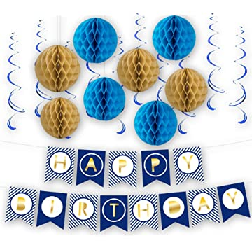 Blue Happy Birthday Party Decorations - Supplies Set for Boy & Girl Kids - Adult Women & Men - Includes Happy Birthday Banner with Brown & Blue Honeycomb Balls and Blue Swirl