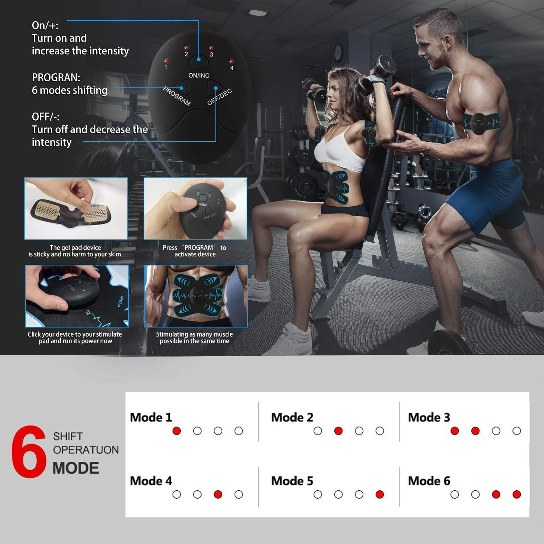 EMS Trainingsger/ät EMS Muskelstimulator,Professional Bauch Muskel Trainer Elektrisch f/ür Herren Damen,Abnehmen und Muskeln aufbauen,Tragbarer Muskel Trainer 10 PC Gel-Auflagen
