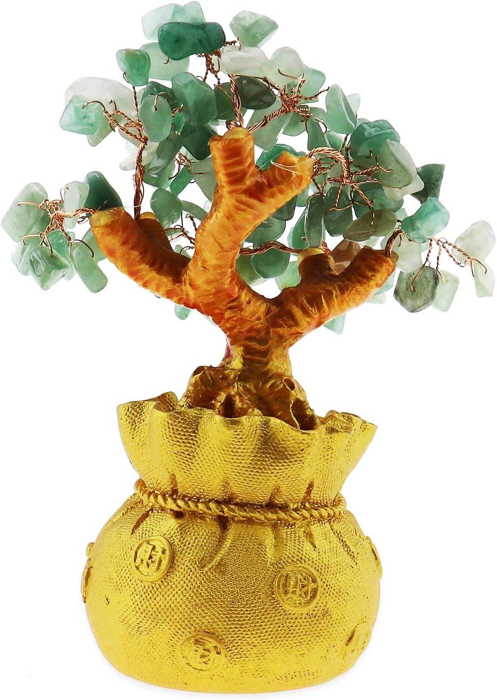 Sala de Estar /Árbol de la Suerte con Piedra de Cristal para decoraci/ón de Oficina Buena Suerte Amarillo YINETTECH