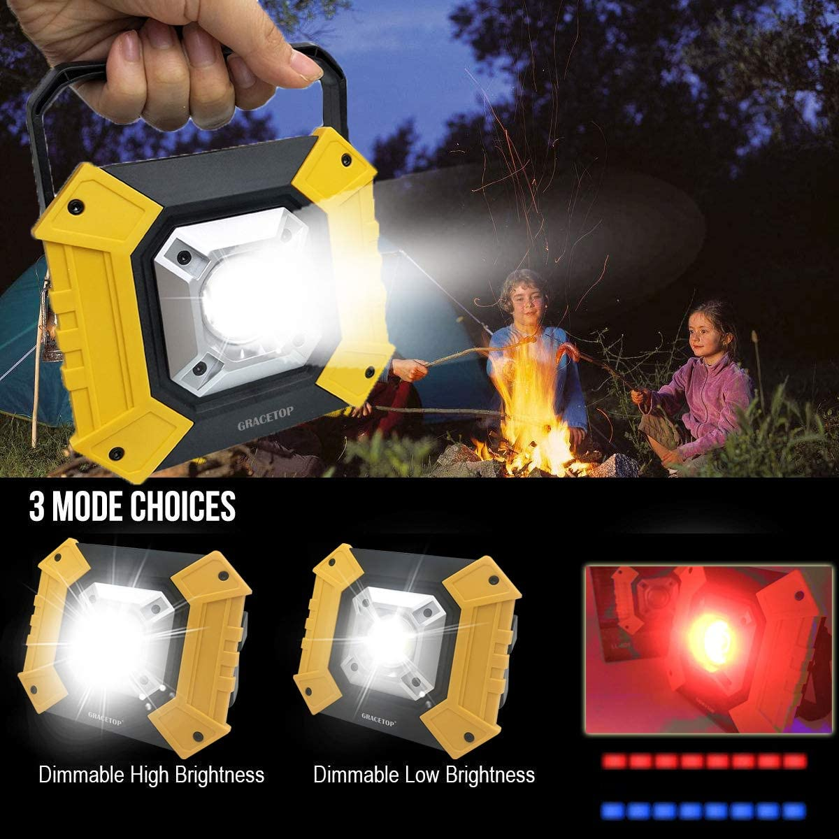 Portable Work Light Rechargeable 20W Built-in 6000mAh Battery Waterproof Flood Light for Outdoor Lighting,Camping,Hiking,Fishing,Car Repairing,Construction Site