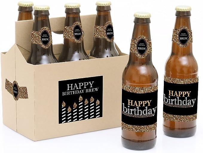 Adulto Feliz cumpleaños – oro – 6 botella de cerveza etiquetas con ...