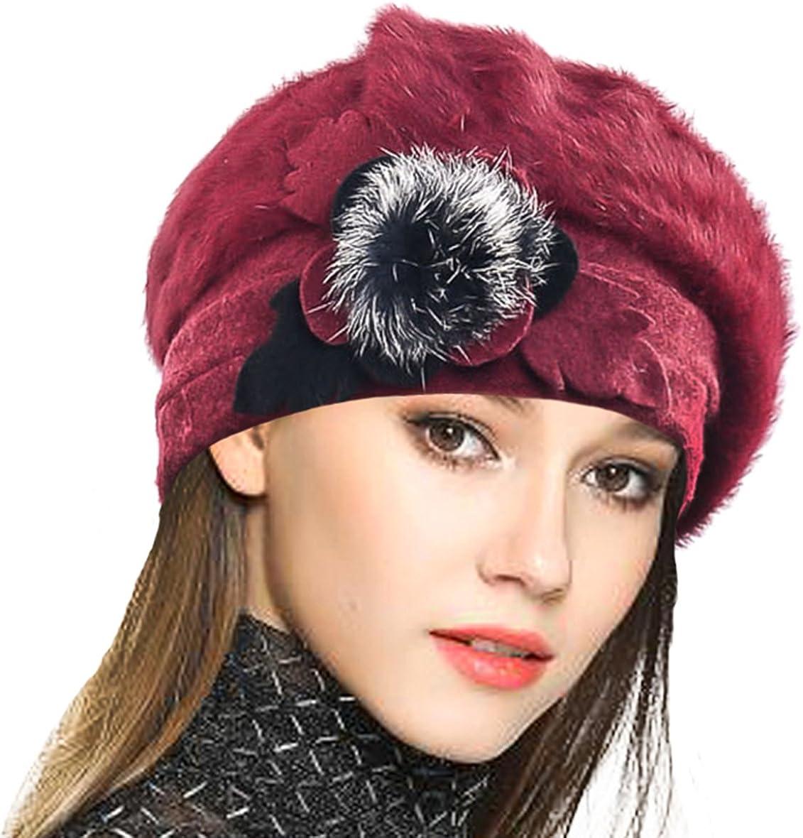 Style vintage Hiver Pour femme Automne Clenp Beret fran/çais en laine Chaud Couleur unie En laine