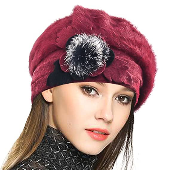 ddf6be427faa Femme Laine Béret Français Cloche Angola Robe Bonnet Calotte Chapeaux d  hiver (Bordeaux)