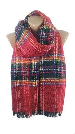 blanket scarf plaid scarf cozy winter red scarf shawl flannel christmas gift - Christmas Plaid Scarf
