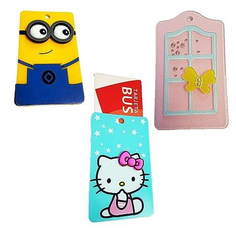 ZARAPOP - Llavero – Tarjeta – Bus – crédito – Club – Pack 3 Unidades. Incluye Miniom, Hello Kitty y Ventana.