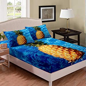 Erosebridal Pineapple Bed Sheet Tropical Fruit Sheet Set for Boys Girls Youth,Blue Sea Water Background Fitted Sheet Funny Food Bed Cover Hawaii Beach Bedroom Decor Full Size Yellow