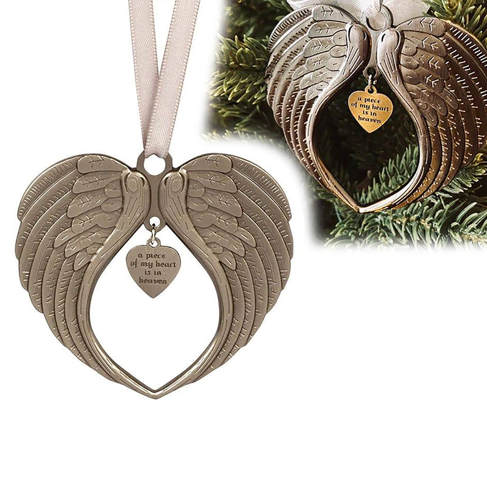 Angel Wings Christmas Ornaments for Christmas Tree, A Piece of My Heart Lives in Heaven Memorial Ornament for Loss of Loved One,Bereavement Gifts