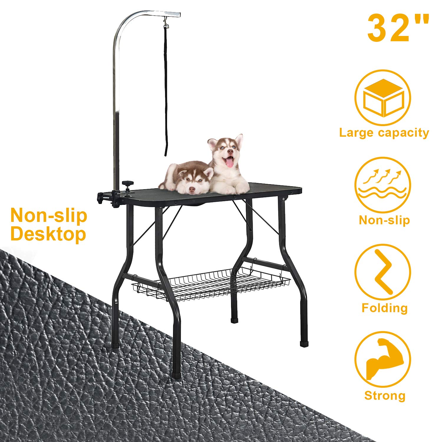 VECELA Pet Dog Grooming Table Small Size Heavy Duty 32'' Foldable, Portable with Adjustable Arm Clamp and Mesh Tray