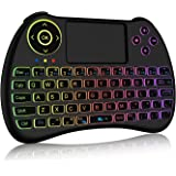 2.4GHz Colorful Backlit Mini Wireless Keyboard with Mouse Touchpad Rechargeable Combos for for Google Android TV Box, Kodi,HTPC, IPTV, PC, PS3,Xbox 360, Raspberry Pi 3,NVIDIA Shield TVPC, Pad