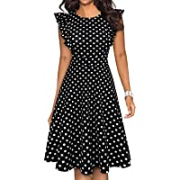 YATHON Women's Vintage Ruffle Floral Flared A Line Swing Casual Cocktail Party Dresses
