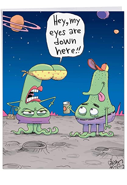 Alien Boobs Birthday Card Big Greeting With Envelope 85 X 11 Inch