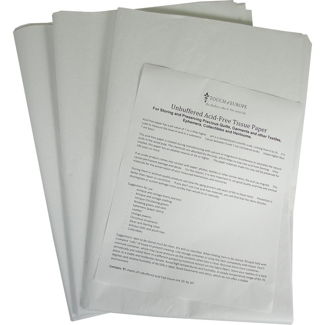 3 Pack Unbuffered Acid-free Paper for Storing and Preserving Precious Quilts, Textiles, Linens. 25 Sheets, 20 By 30 Inches 75 Sheets Total, 3 Pack