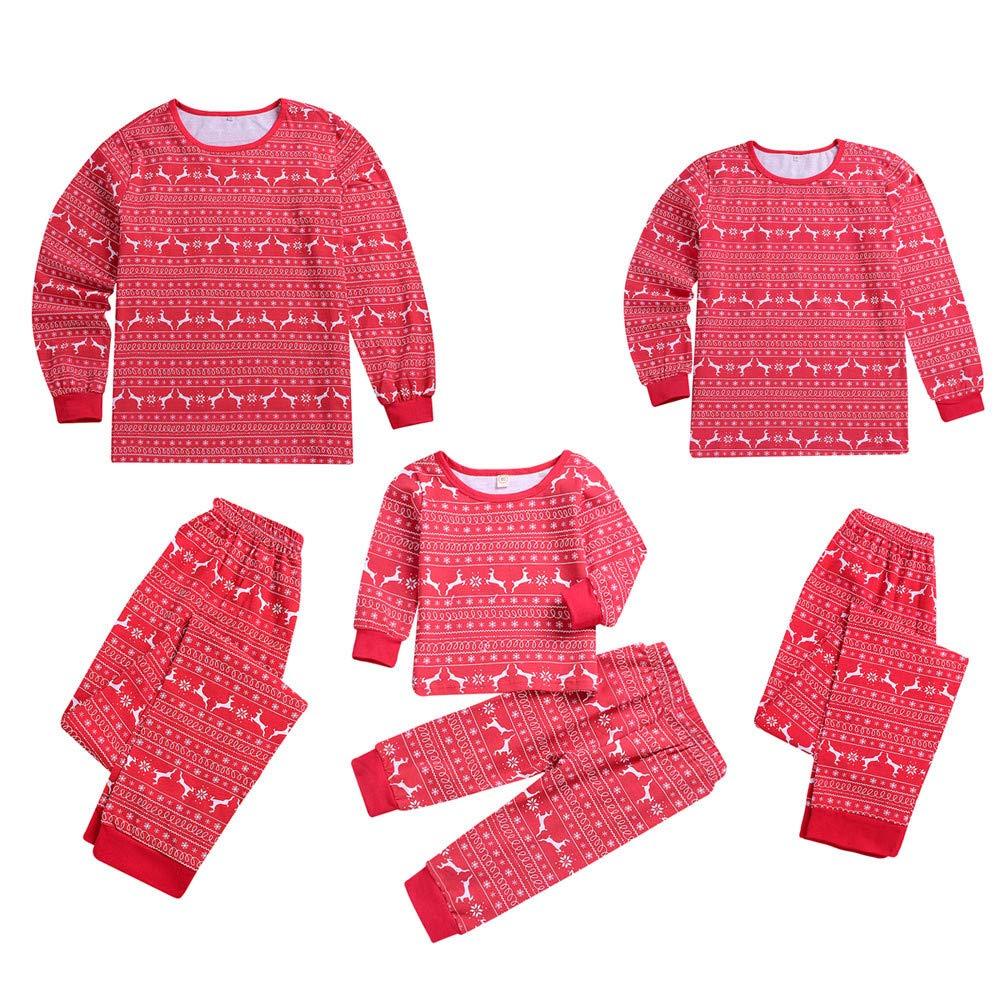 f705378d33d87 Parent-Enfant Vêtements de Noël Ensemble Pyjama Noel Famille Père Noël Mère  Garçon Fille du Nouveau-né Bébé Pyjamas, QinMM Noël Fauve Cerf Impression  Rouge ...