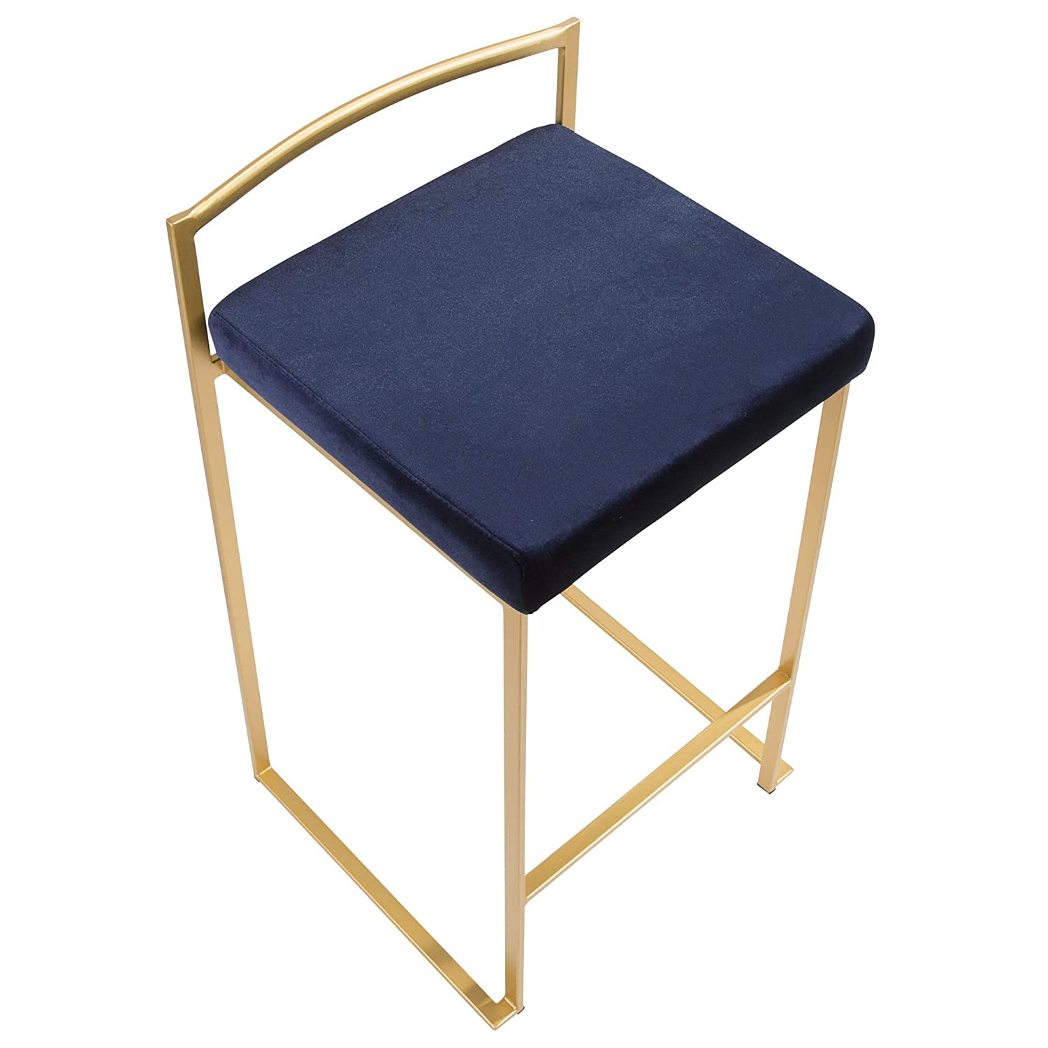 LumiSource Stackable Counter Stool in Gold and Blue Set of 2