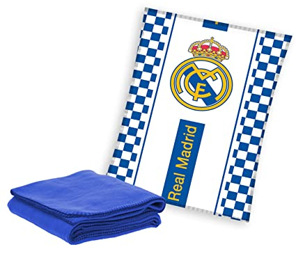 Mercury Real Madrid Manta Polar, Poliéster, Azul, 10x30x140 cm