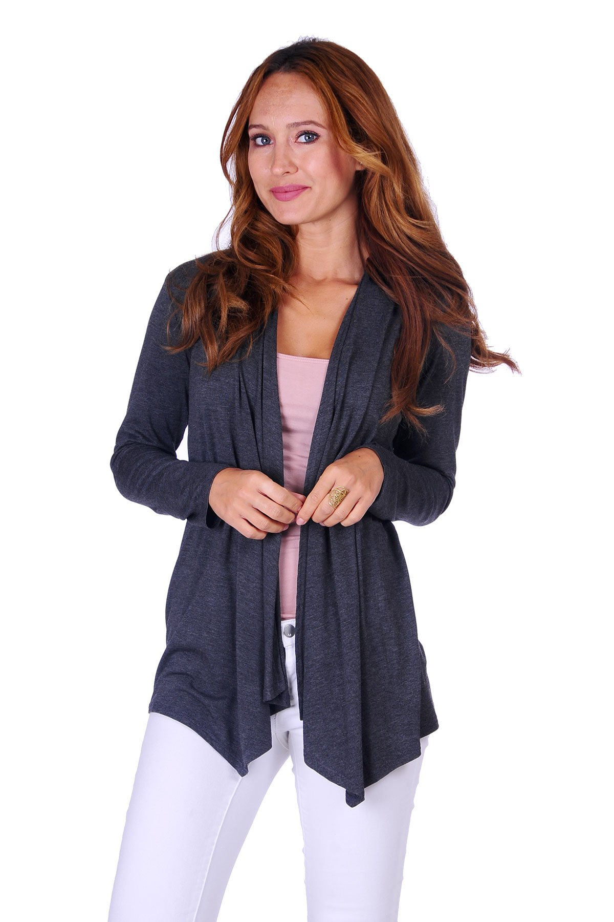 SR Women's Basic Long Sleeve Open Cardigan (Size: Small-5X), 1X, Charcoal