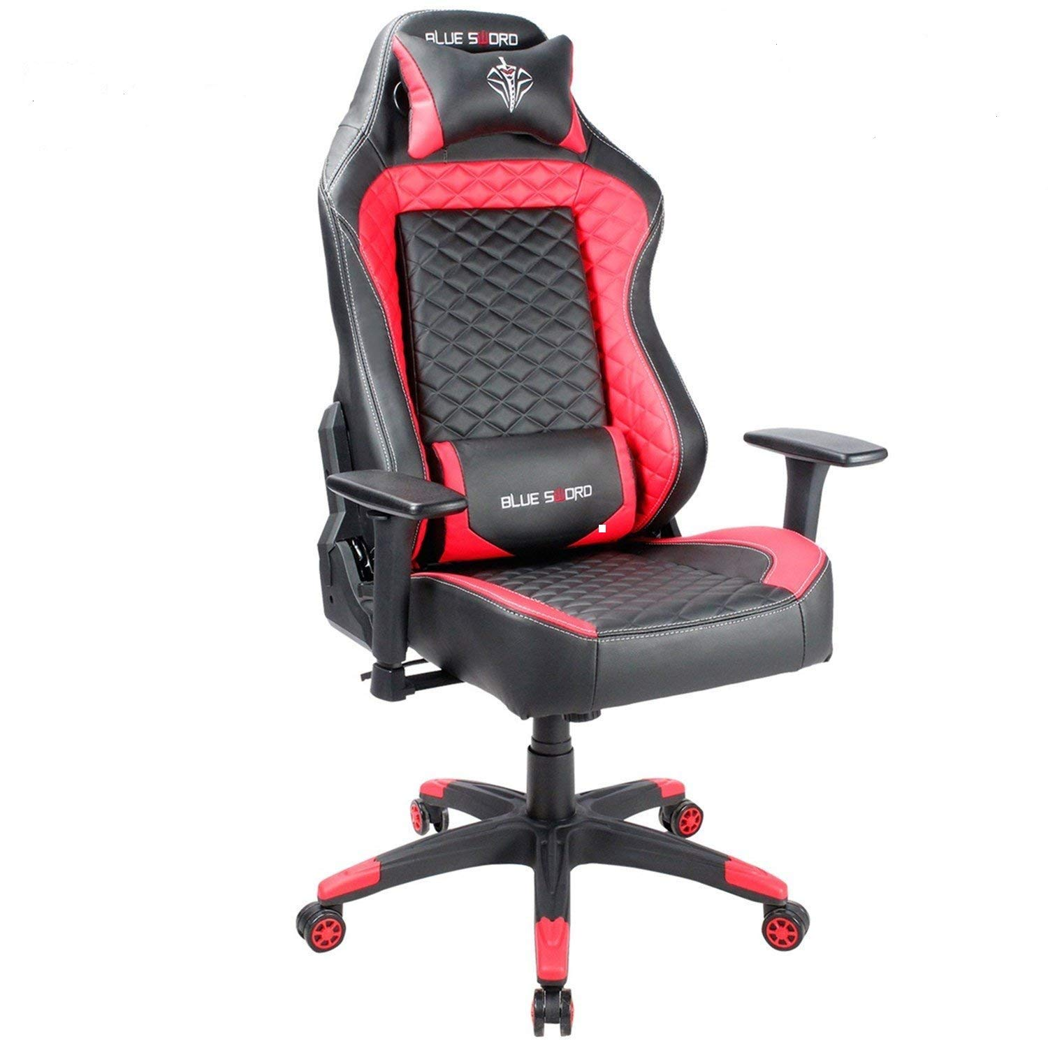 Blue Sword Large Size Racing Gaming Chair High Back Ergonomic Swivel Computer Office Desk Chair with Headrest and Lumbar Support, Blue LCH-JD-8993-BU