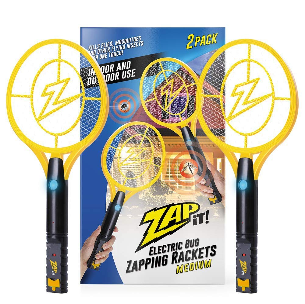 ZAP IT! Bug Zapper Twin Pack - Rechargeable Mosquito, Fly Killer and Bug Zapper Racket - 4,000 Volt - USB Charging, Super-Bright LED Light to Zap in The Dark - Safe to Touch ... (Twin Medium)