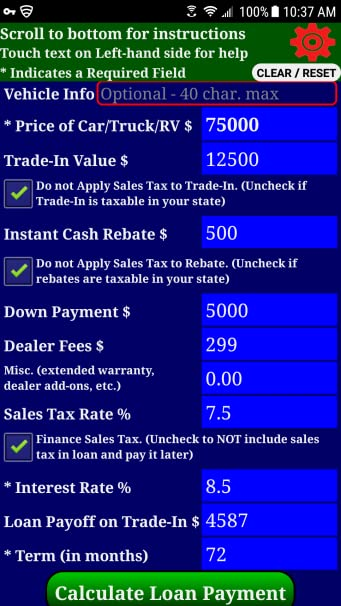 amazon com auto car truck rv loan payment calculator pro appstore