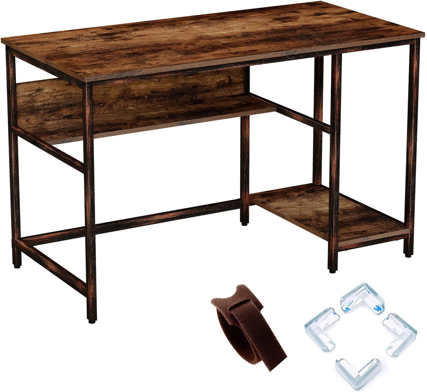 """Rolanstar Rustic Style Computer Desk, 47"""" Home Office Desk with 2 Storage Shelves with Corner Protectors, Study Table, Workstation,Stable Metal Frame, CP001-D"""